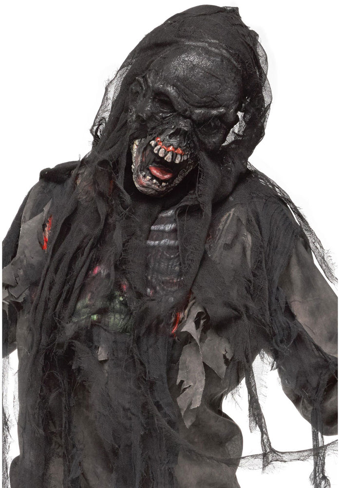 Burnt Burning Screaming Zombie Face Mask with Shroud