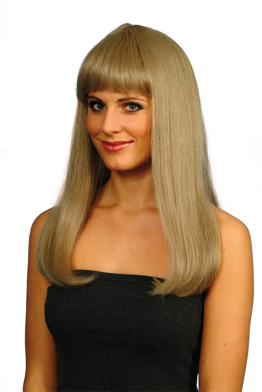 Emmanuelle Wig Blonde Dark, Long Straight Fringe ,Smiffys fancy dress