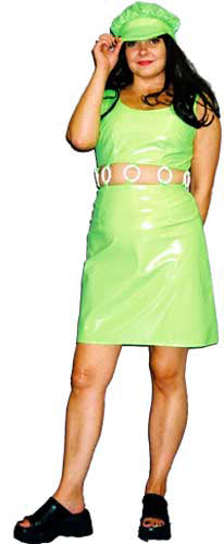 1960s Mini Dress PVC Green A40