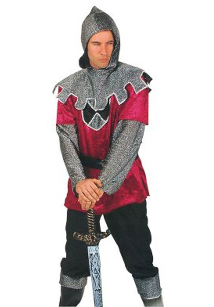 Knight Costume, Burgandy/Silver