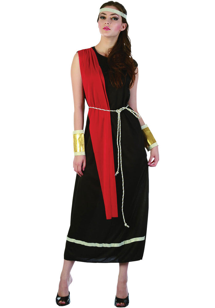Adult Ladies Roman Goddess Costume, Black Toga Fancy Dress