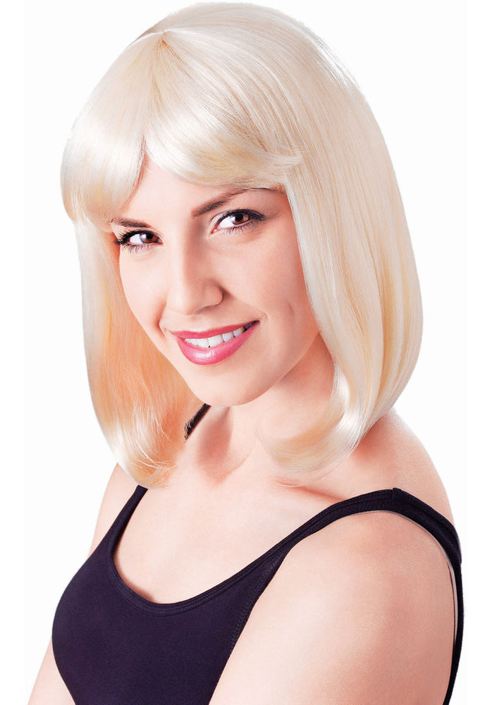 Straight Hair Wig With Fringe, Blonde Party Wig