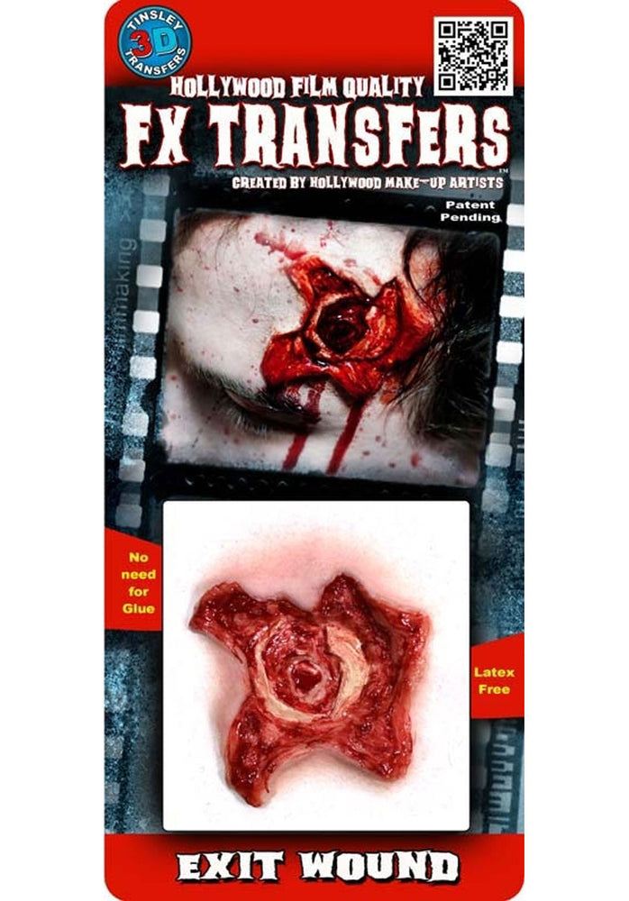 Exit Bullet Wound 3D FX Transfers, Halloween Gory Effects