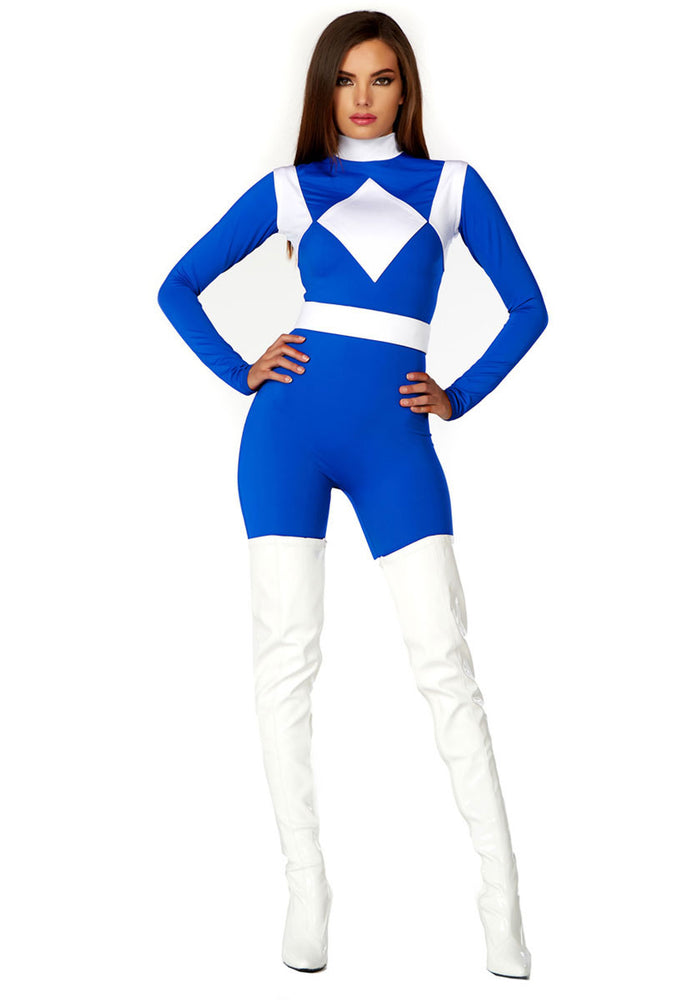 Womens Power Ranger Style Blue Superhero Catsuit