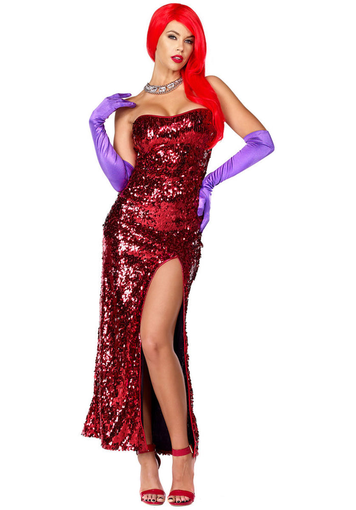 Sexy Cartoon Temptress Costume, Jessica Rabbit Inspired