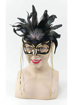 Black and Gold Feather Sequinned Mask
