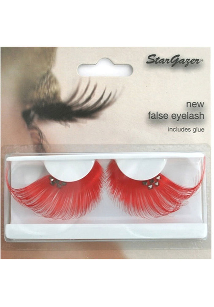 Eyelashes - Red with Diamonte