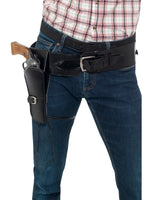 Smiffys Adult Faux Leather Single Holster with Belt, Black - 40304