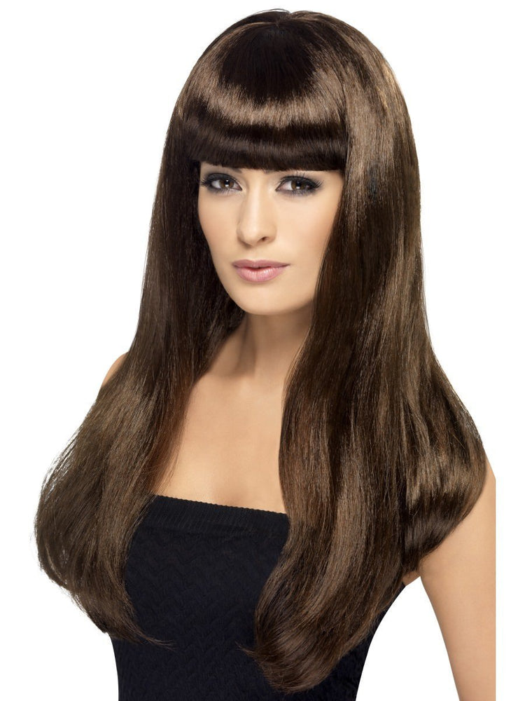 Smiffys Babelicious Wig, Brown, Long, Straight with Fringe - 42425
