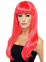 Babelicious Wig, Neon Pink, Long, Straight with Fringe42421
