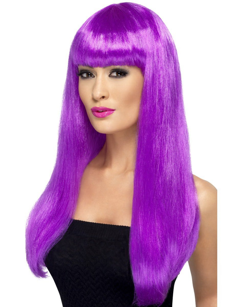 Babelicious Wig, Purple, Long, Straight with Fringe42424