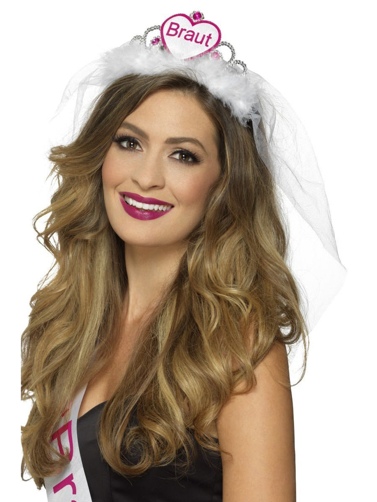 Smiffys Braut Tiara, Pink & Black, with Veil - 44991