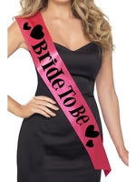 Bride to Be Sash Pink with Black Lettering