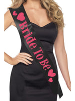 Bride to Be Sash, Pink on Black