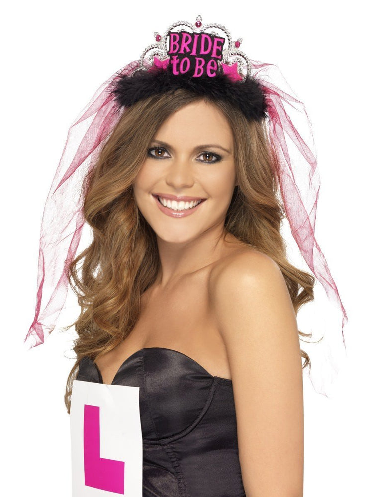 Smiffys Bride To Be Tiara with Veil, Black - 26837