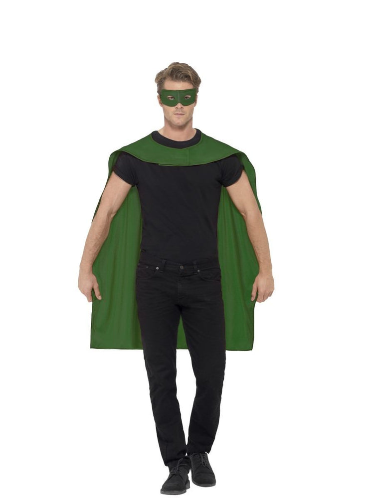 Smiffys Cape, Green, with Eyemask - 44949