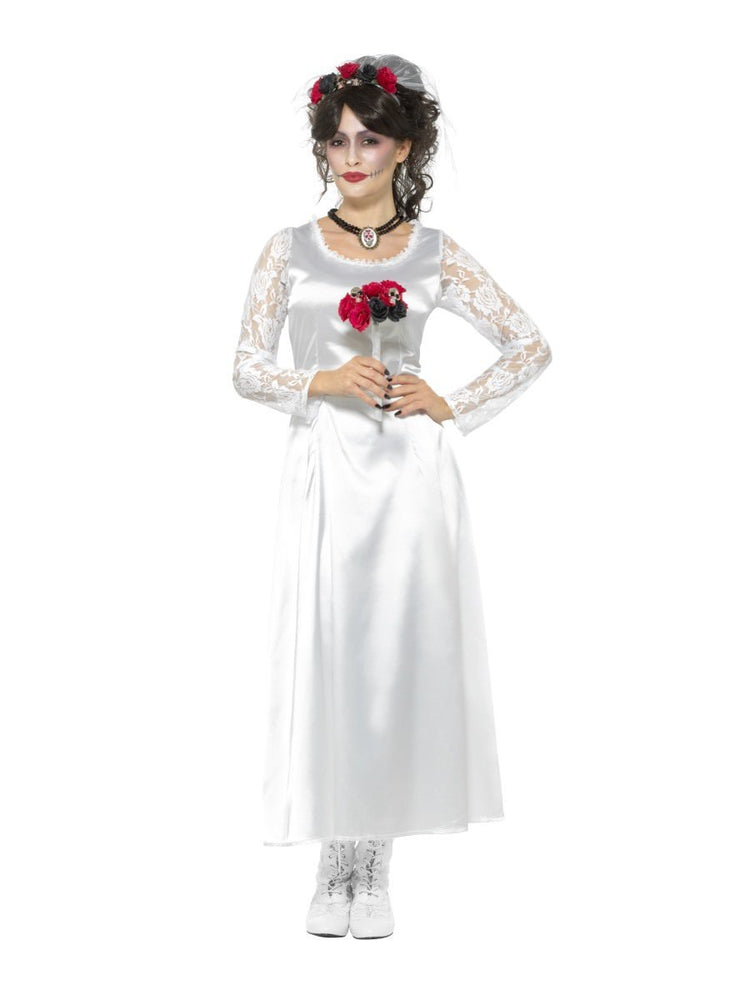 Smiffys Day of the Dead Bride Costume, White - 48152