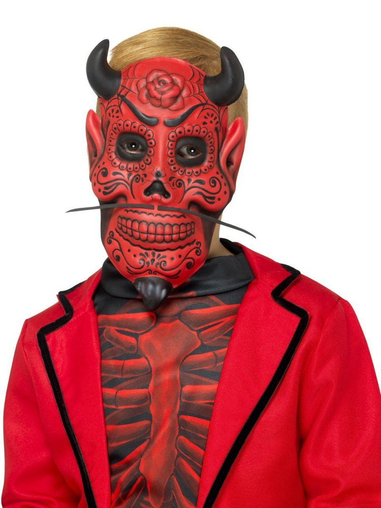 Smiffys Day of the Dead Devil Mask, Childs - 48134