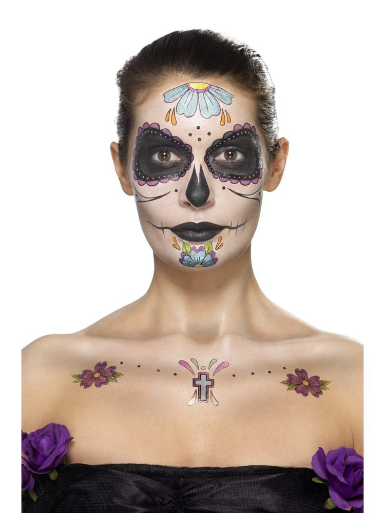 Smiffys Day of the Dead Face Tattoo Transfers Kit - 41569