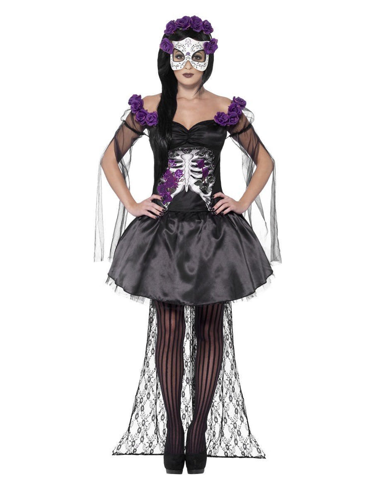 Smiffys Day of the Dead Senorita Costume, with Printed Top - 43737