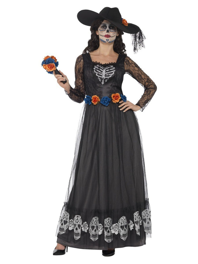 Smiffys Day of the Dead Skeleton Bride Costume, Black - 44944