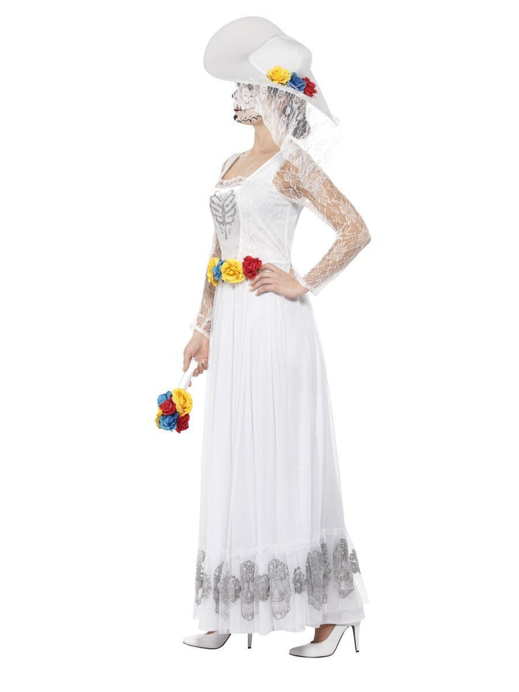 Day of the Dead Skeleton Bride Costume, White44657