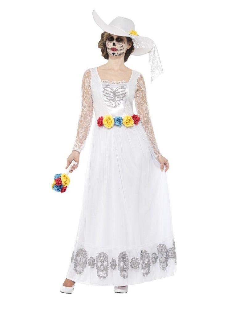 Smiffys Day of the Dead Skeleton Bride Costume, White - 44657