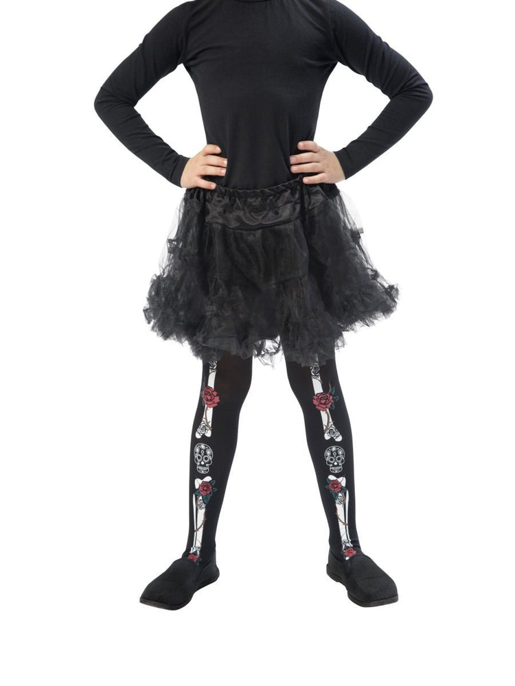 Smiffys Day of the Dead Tights, Child - 48159