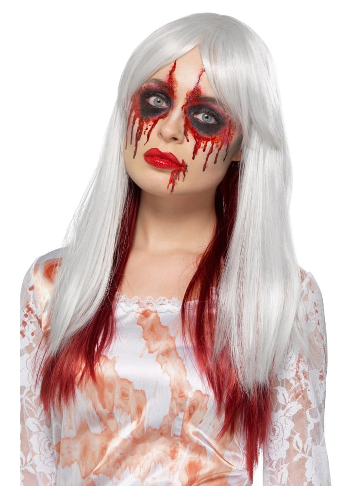 Deluxe Blood Drip Ombre Wig, White & Red