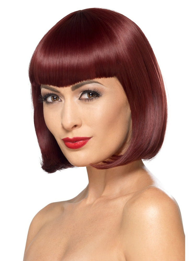 Deluxe Bob Wig with Shaped Fringe, Cherry