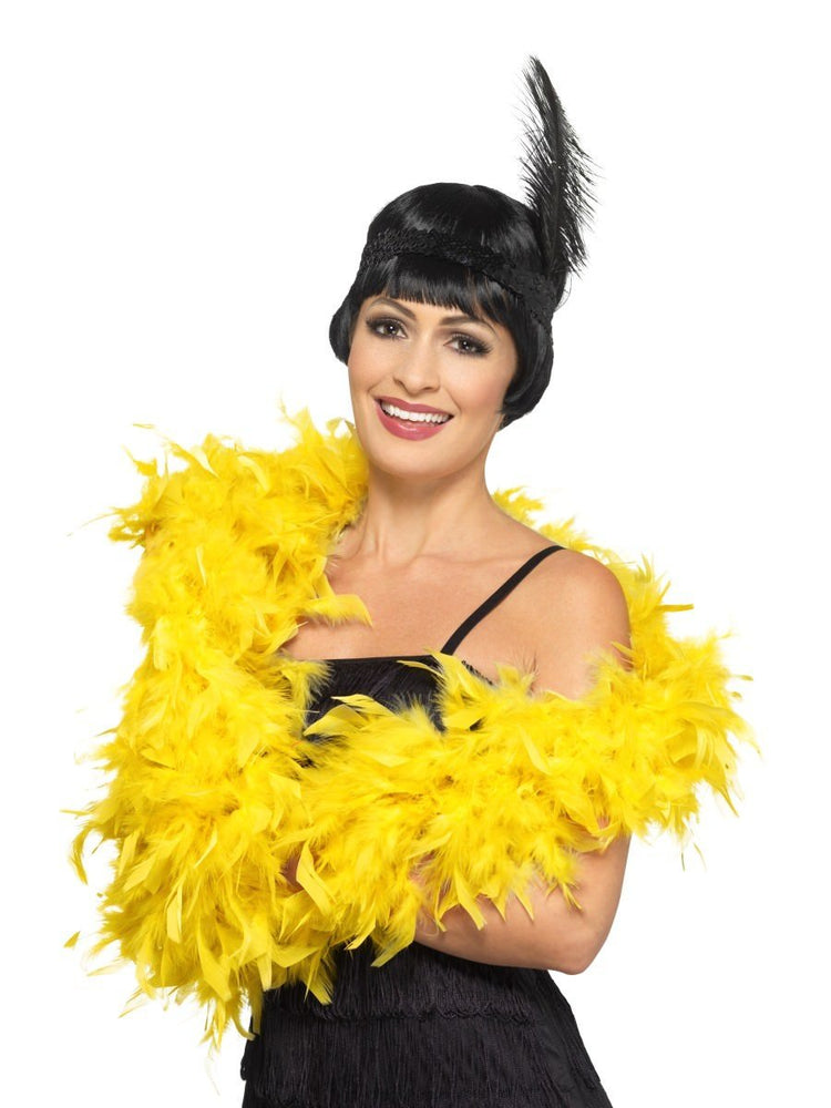 Smiffys Deluxe Feather Boa, Gold - 45195