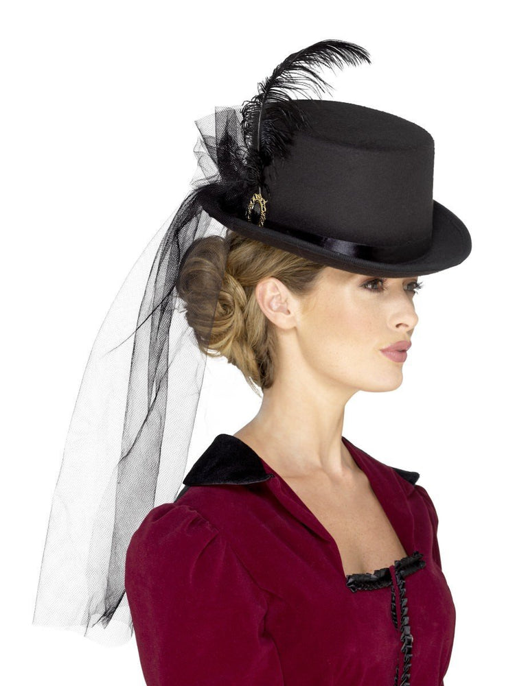 Deluxe Ladies Victorian Top Hat with Veil