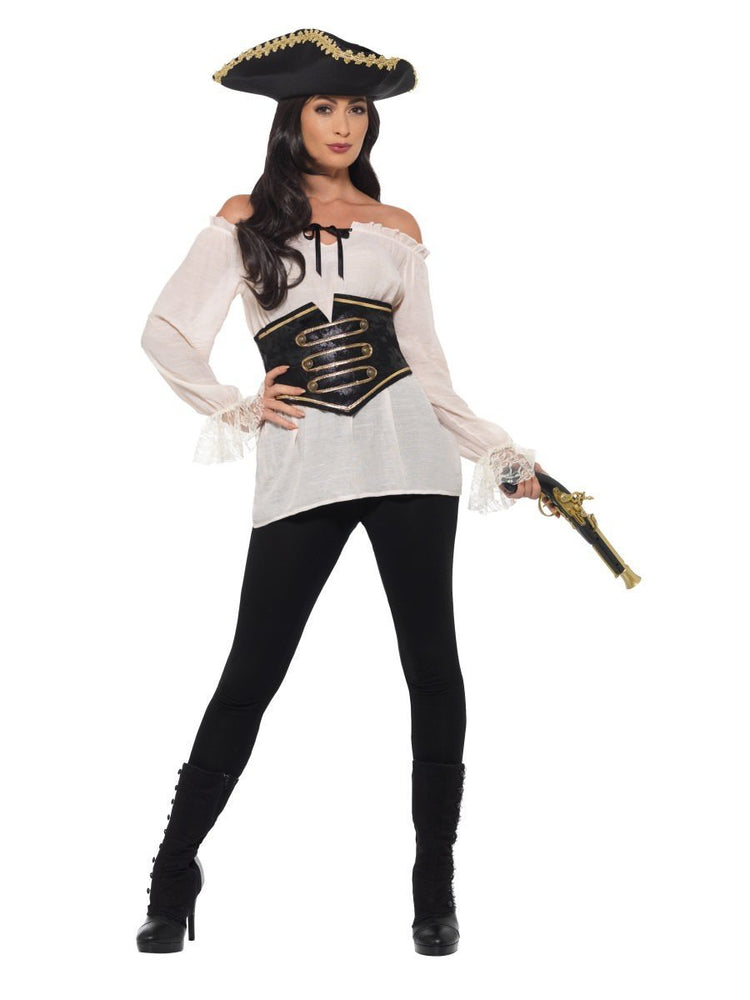 Smiffys Deluxe Pirate Shirt, Ladies, Ivory - 47356