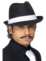 Deluxe Trilby Hat, Black and White Pinstripe