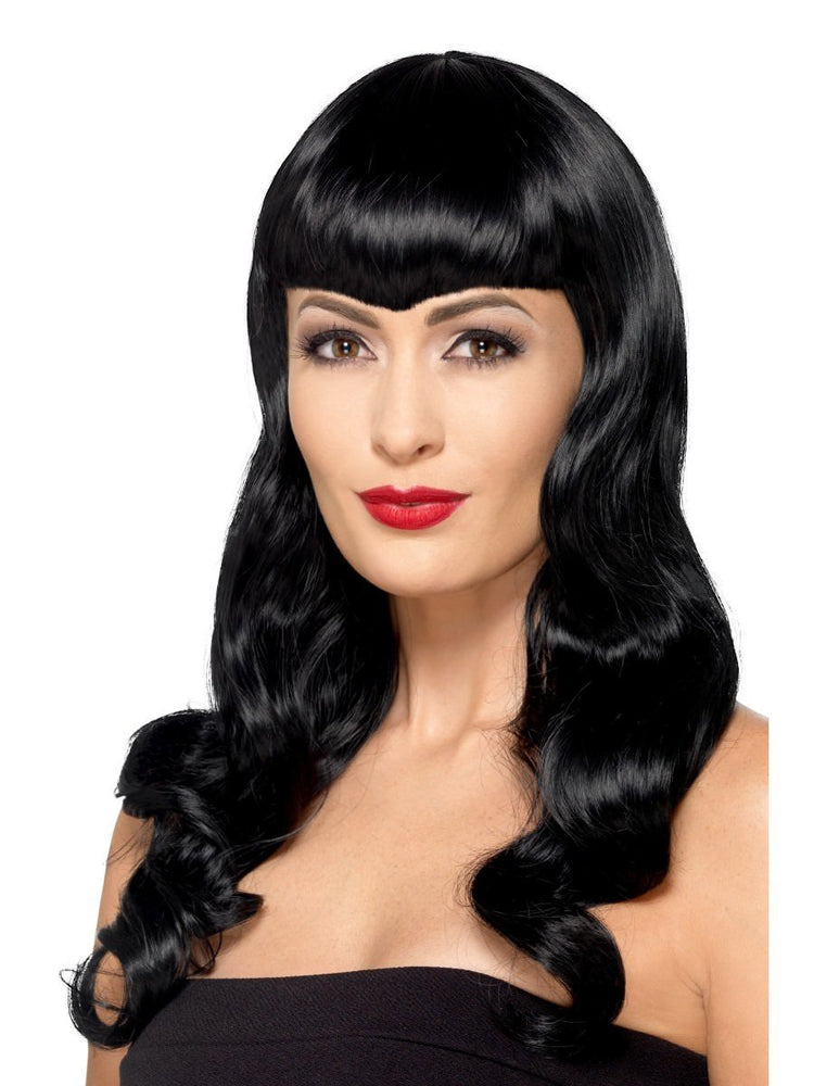Deluxe Wavy Wig with Shaped Fringe, Black
