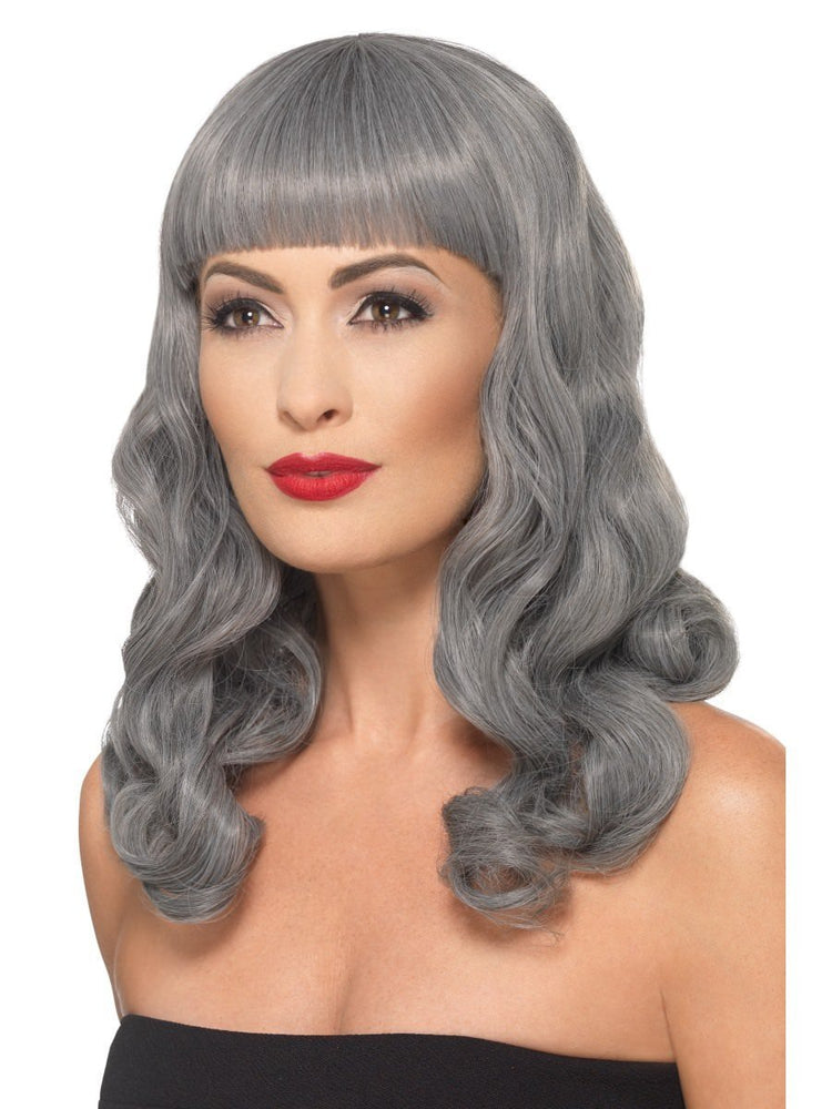 Deluxe Wavy Wig with Fringe, Grey