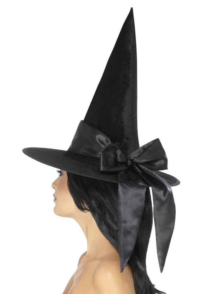 Smiffys Deluxe Witch Hat, Black, with Black Bow - 48024