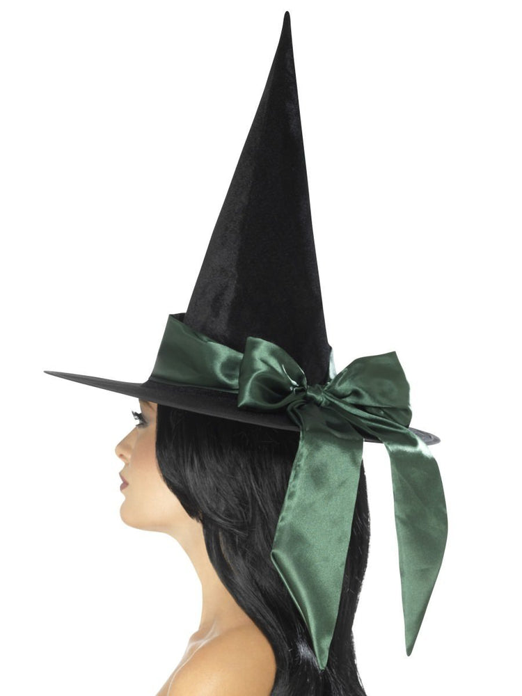 Smiffys Deluxe Witch Hat, Black, with Green Bow - 48023