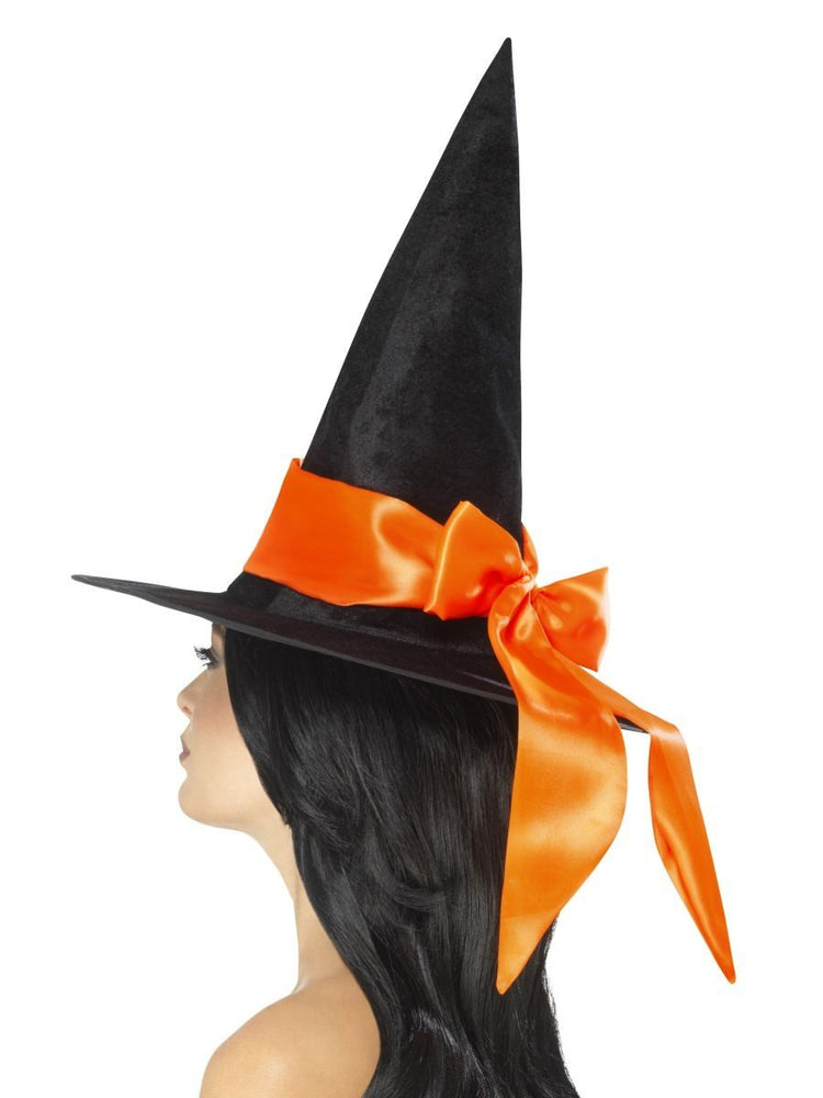 Smiffys Deluxe Witch Hat, Black, with Orange Bow - 48022