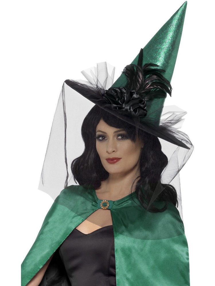 Smiffys Deluxe Witch Hat, Teal, with Feathers & Netting - 45099