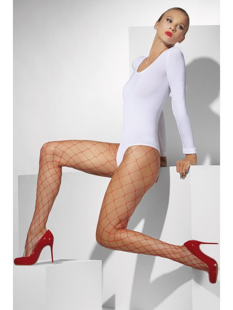 Diamond Net Tights, Red