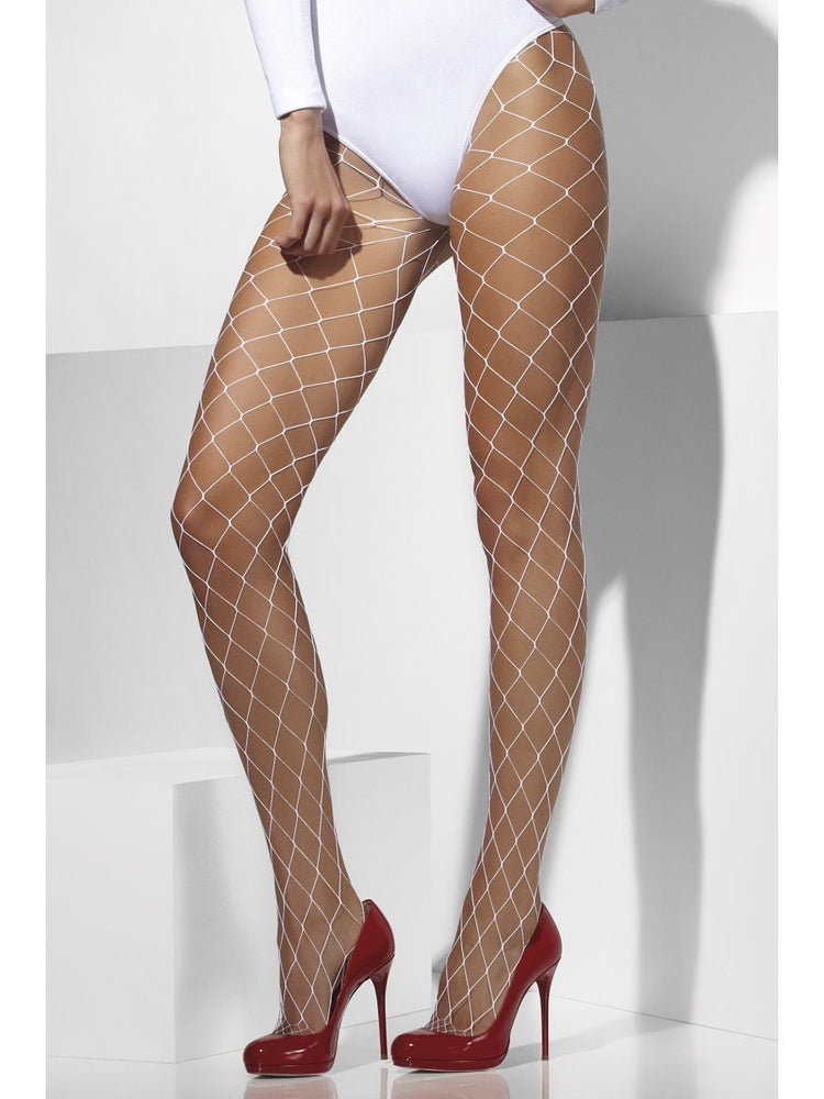 Tights Diamond Net, White