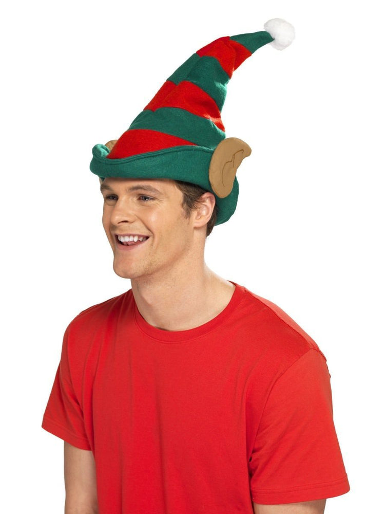 Green/Red Striped Elf Hat With Ears