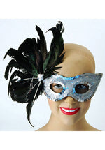 Black and Silver Feather Eyemask