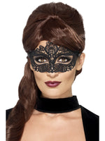 Embroidered Lace Filigree Eyemask, Black