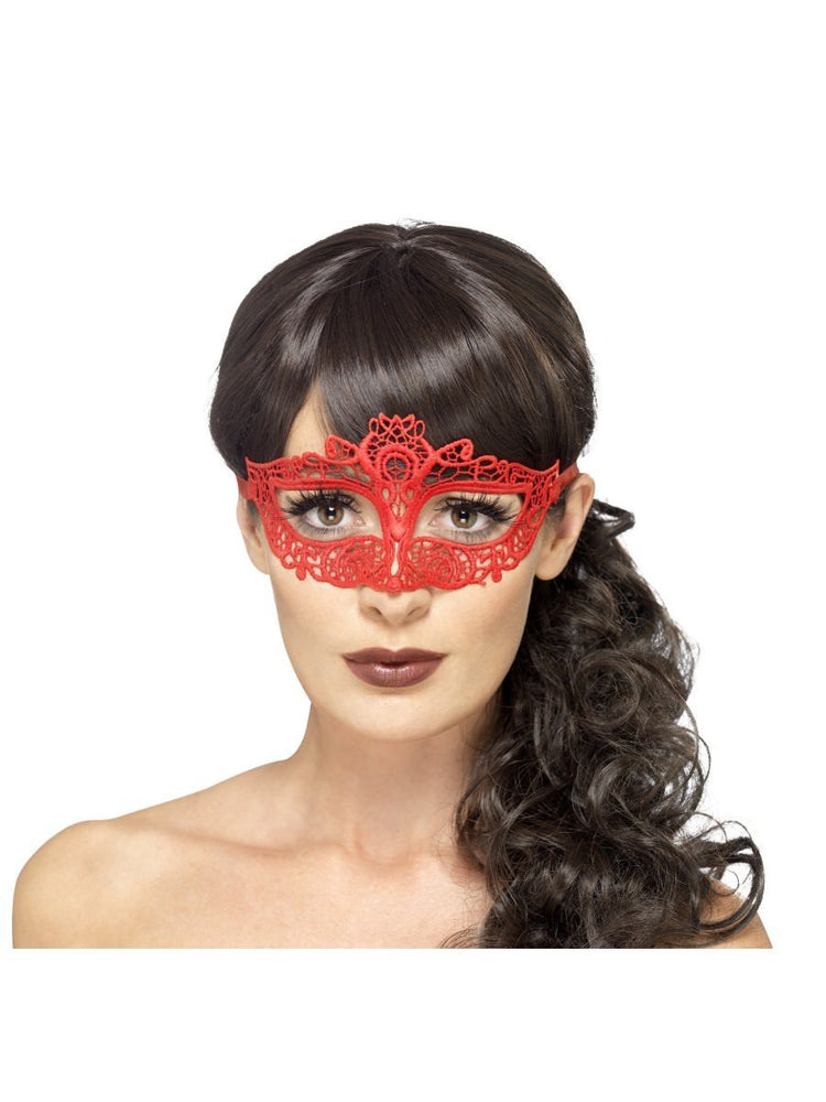 Embroidered Lace Filigree Eyemask, Red