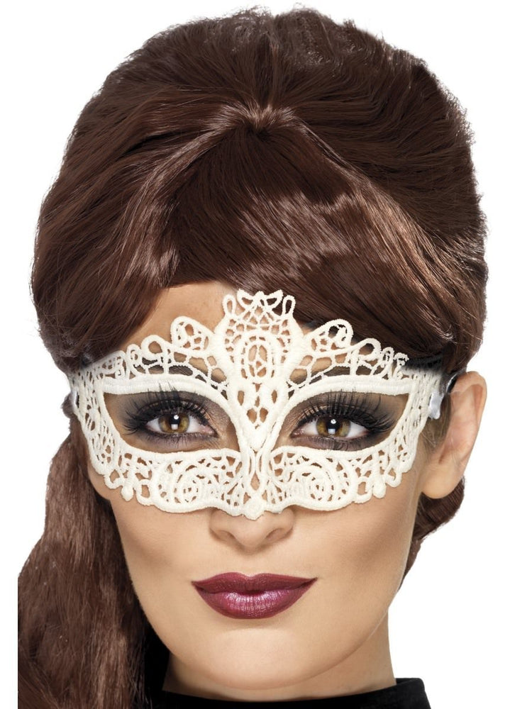 Smiffys Embroidered Lace Filigree Eyemask, White - 45226