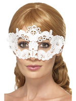 Smiffys Embroidered Lace Filigree Floral Eyemask, White - 45631