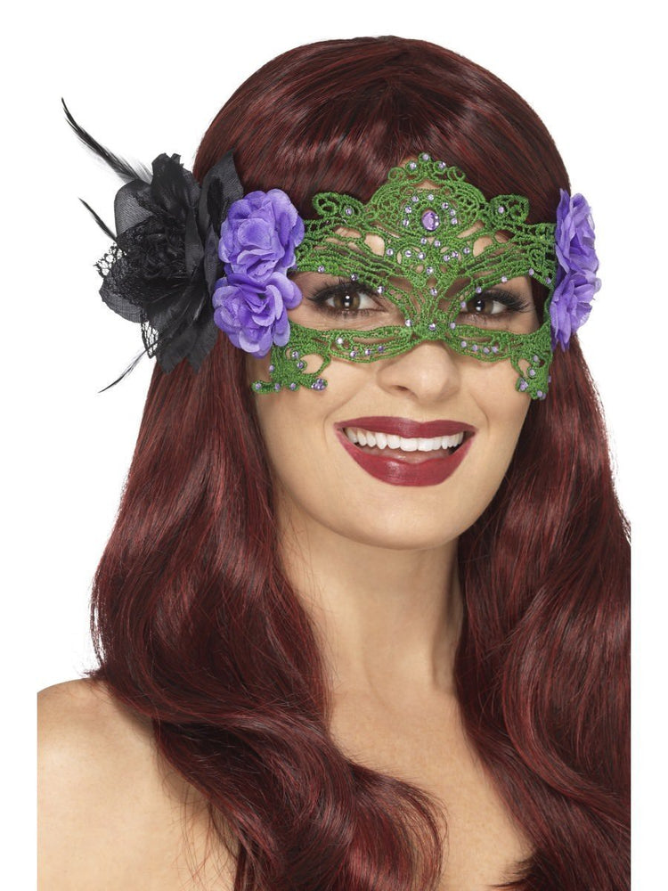 Smiffys Embroidered Lace Filigree Witch Eyemask - 48050