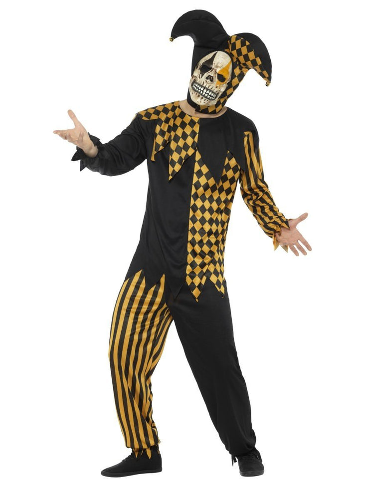 Smiffys Evil Court Jester Costume, Black & Gold - 48074
